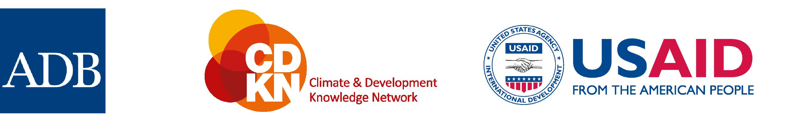 Logos of ADB< CDKN, and USAID