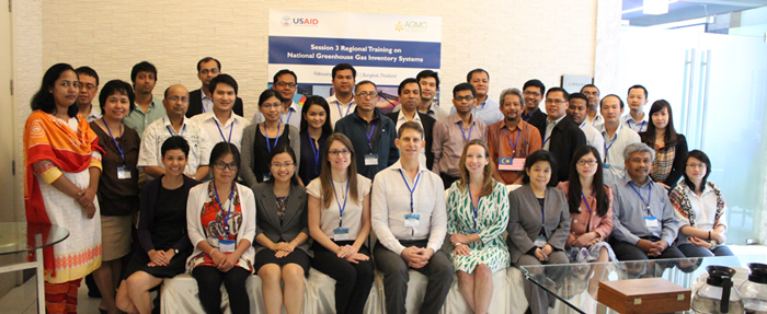 Participants from Bangladesh, Cambodia, Malaysia, Nepal, Philippines, Thailand, and Vietnam in Bangkok, Thailand for Session 3 of the Regional Training on National GHG Inventory Systems (NIS) series